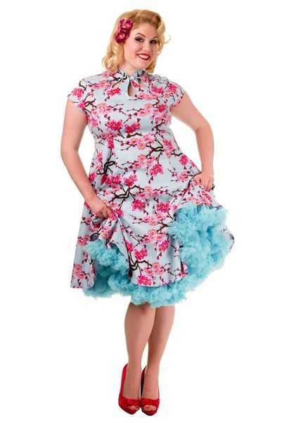 Pin Up Dress Plus Size Cherry Blossom Short Sleeve Blue Retro And