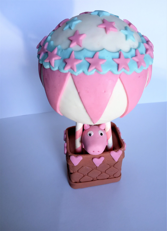 Hot air balloon peppa pig fondant cake topper 3d fondant