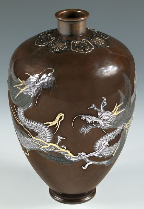 Bronze and multi-metal vase - Nagowa (Hattori)