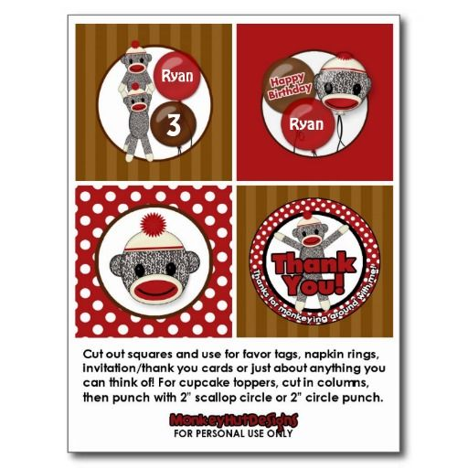Silly SOCK MONKEY Birthday Cupcake Topper SMR Postcard | Zazzle
