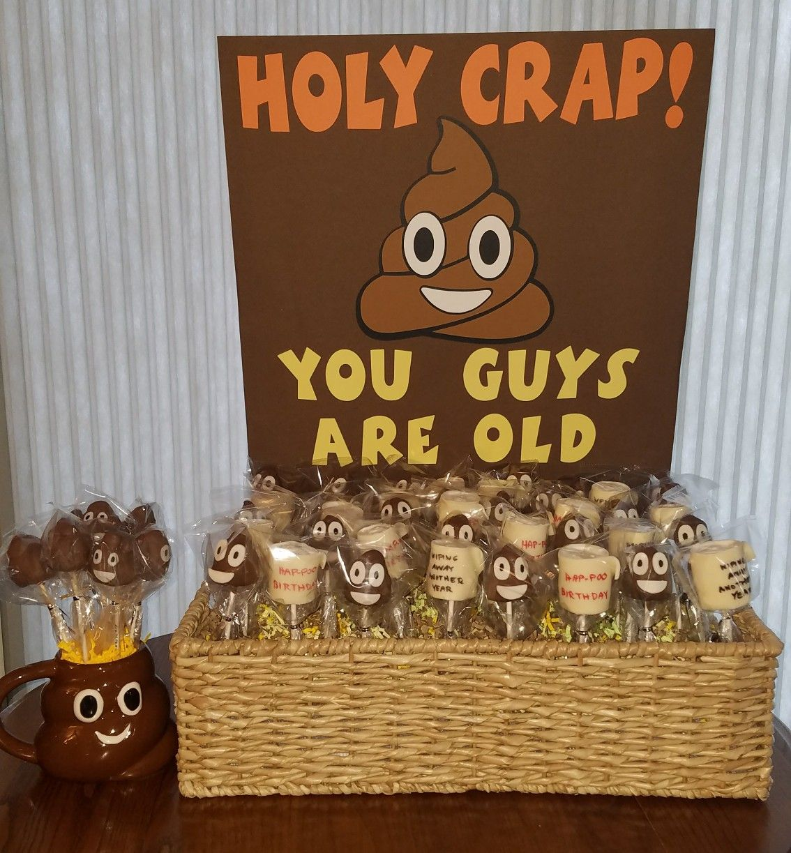 Cake Pops For 60th Birthday Party Husband And Brother Poop Emoji The Holy Crap Youre Old Theme