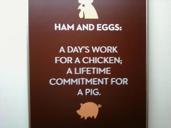 Commitment Chicken Pig Bacon Eggs: Ham And Eggs: A Day's Work For A Chicken, A Lifetime