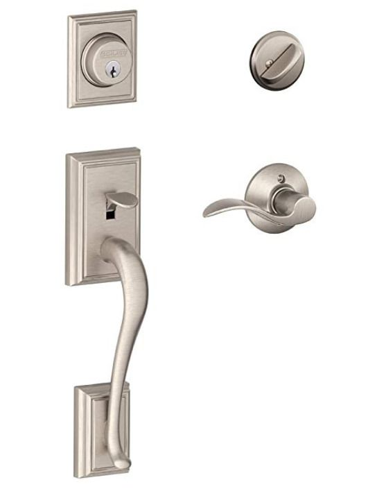 FRONT DOOR HANDLE SET SCHLAGE ADDISON SATIN NICKEL ENTRY ...