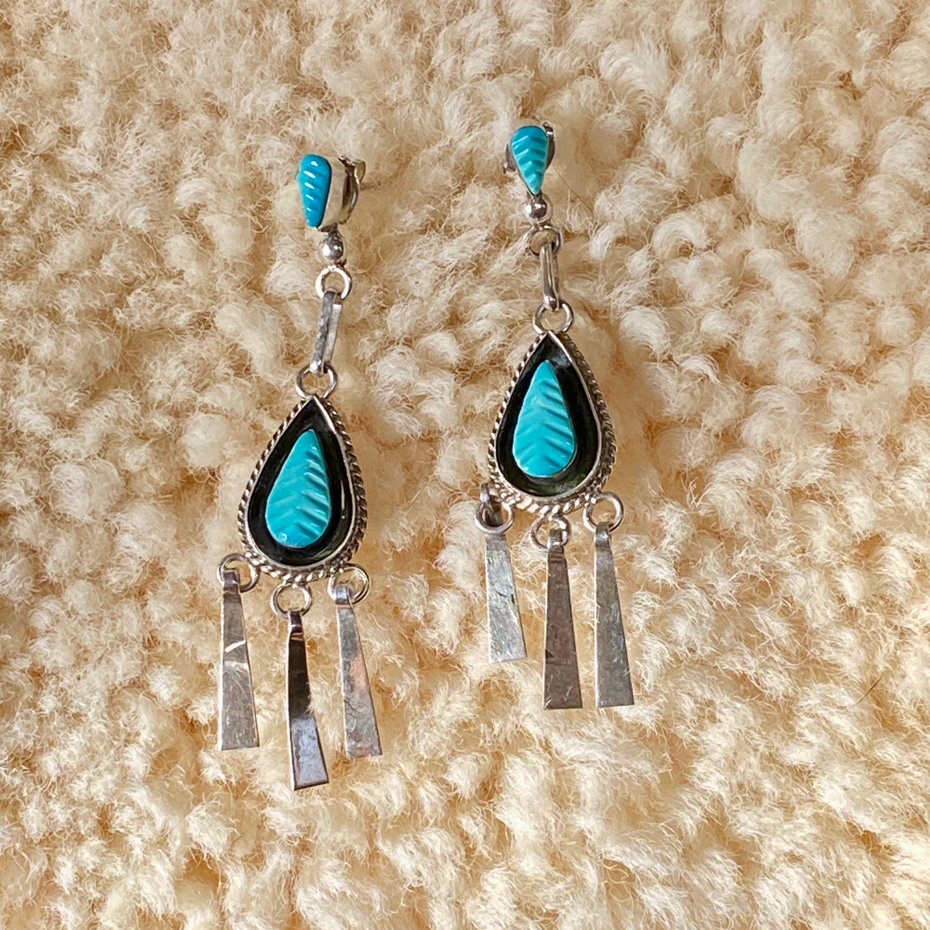 Zuni Carved Leaf Turquoise Pierced Earrings in Sterling Silver