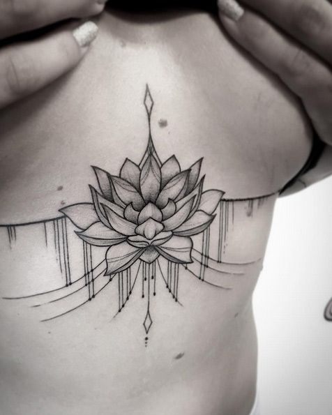 Lotus Flower Sternum Tattoo By Sara Reichardt With Images Chest Tattoos For Women Sternum Tattoo Tattoos For Women