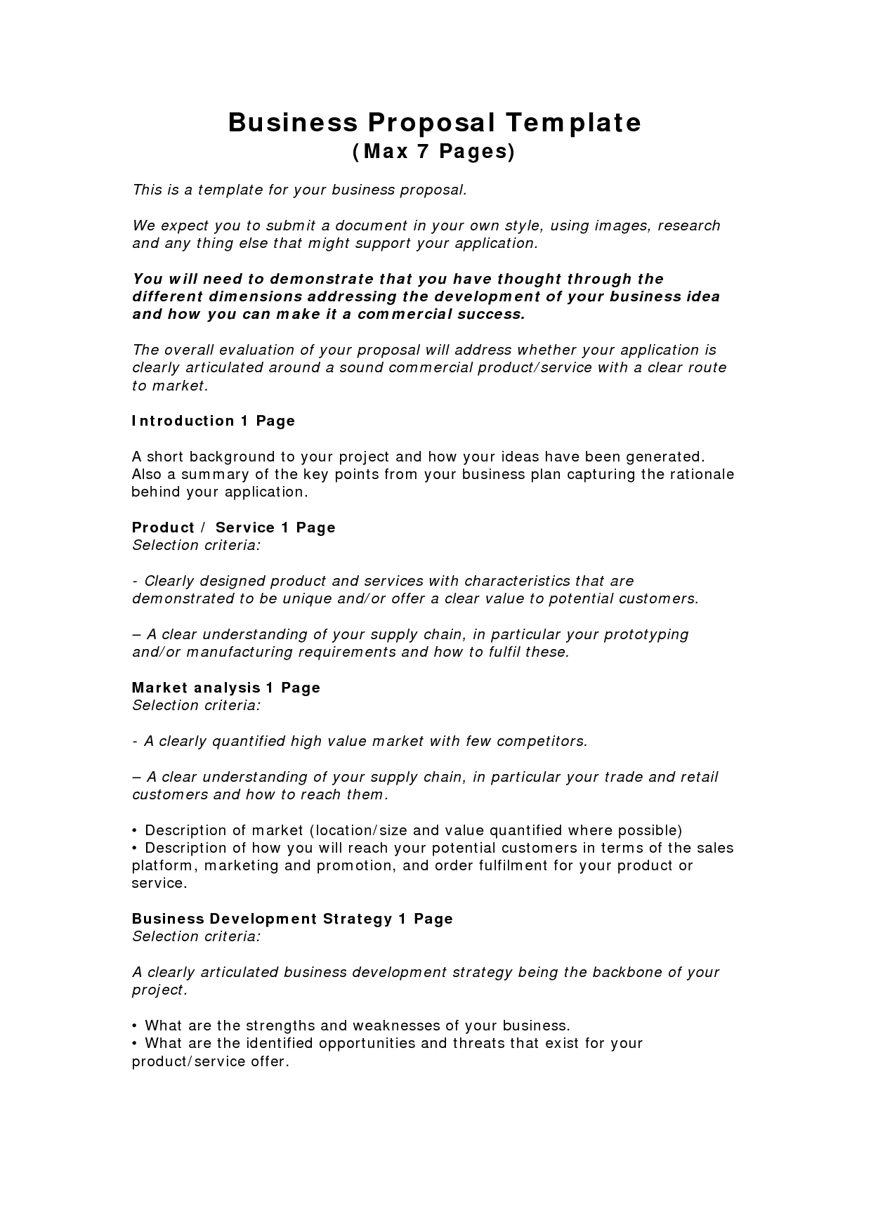 Business Proposal Templates Examples | Business Proposal Template (Max 7  Pages) - PDF