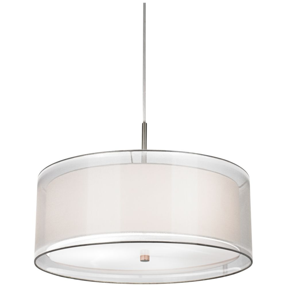 Possini euro double drum 20 wide white pendant light v6122