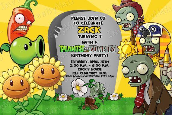 Plants Vs Zombies Invitation By Invitesbymal On Etsy Con