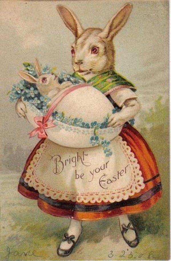 Пасхальный кролик открытка винтаж, картинки