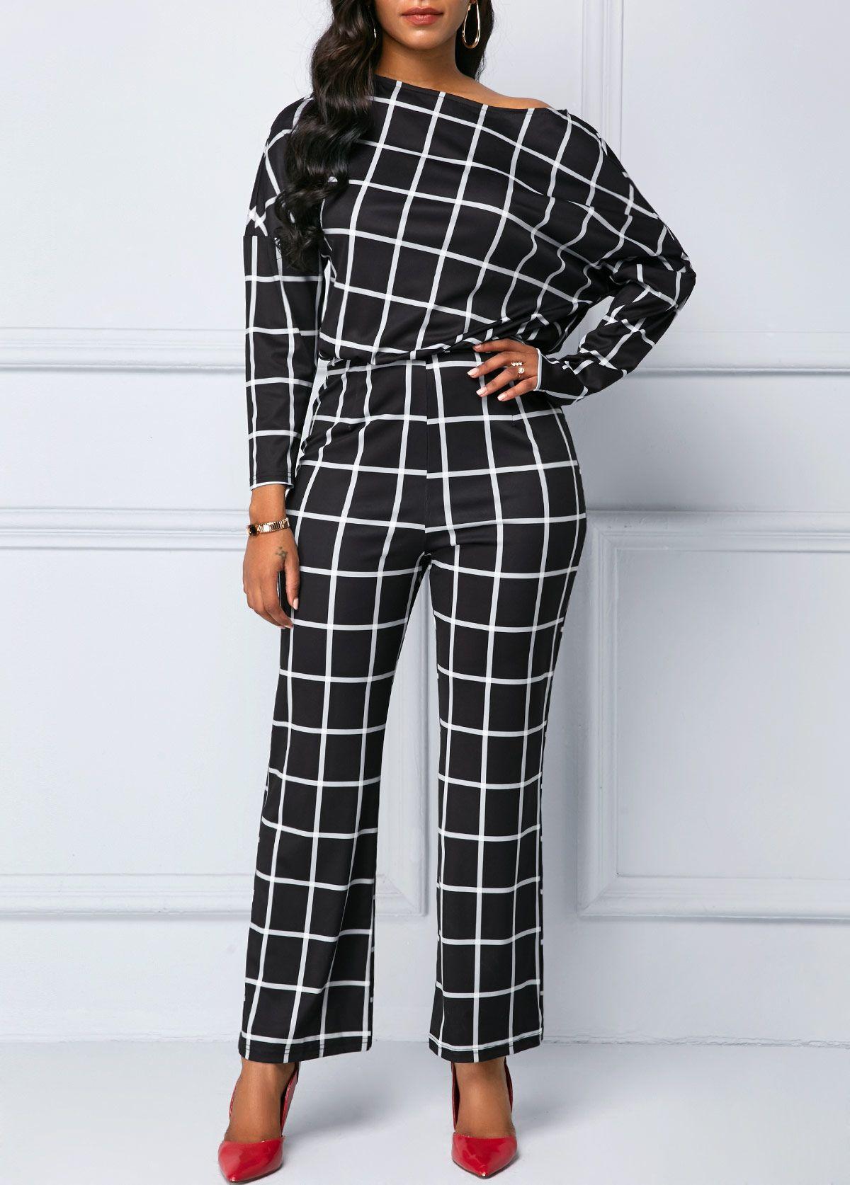 99203396b03 Skew Neck Long Sleeve Grid Print Jumpsuit
