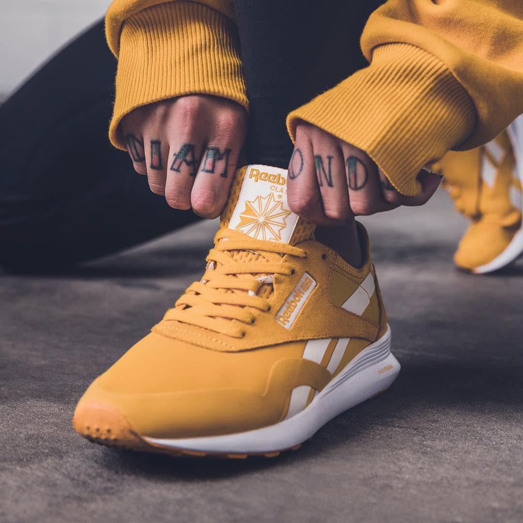 reebok yellow classic nylon trainers