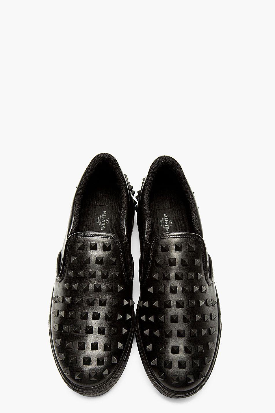 Valentino - Black Leather Studded Slip
