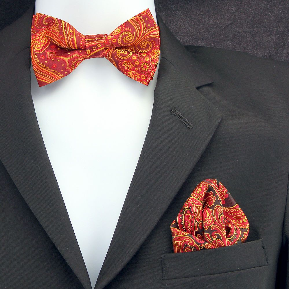 Red Gold Paisley Mens Bow Tie Hanky Pocket Square Wedding Fashion Set New