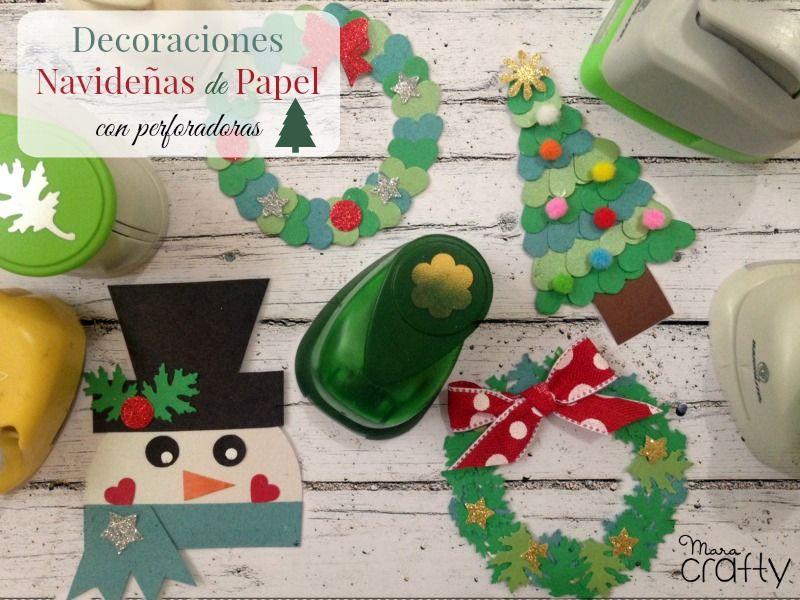 Decoraciones navideñas de papel con perforadoras | Manualidades