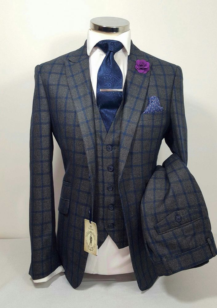 MENS GREY 3 PIECE TWEED SUIT NAVY CHECK WEDDING PARTY PROM TAILORED SMART  in Clothes ab48e50aca0