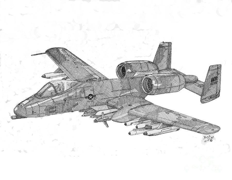 A-10 Warthog Drawing - A-10 Warthog Fine Art Print