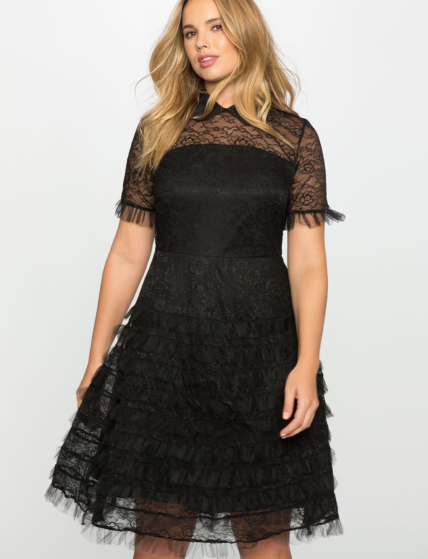 1ea8c45572a Eloquii Studio Lace Ruffle Dress Vivid Auburn