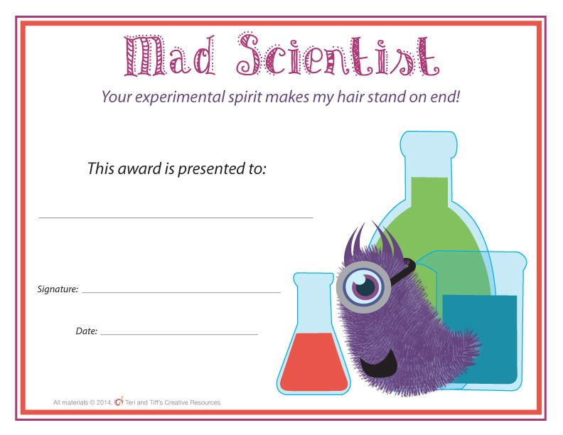 End of the Year Awards u2013 Monster Themed Character trait, School - award templates