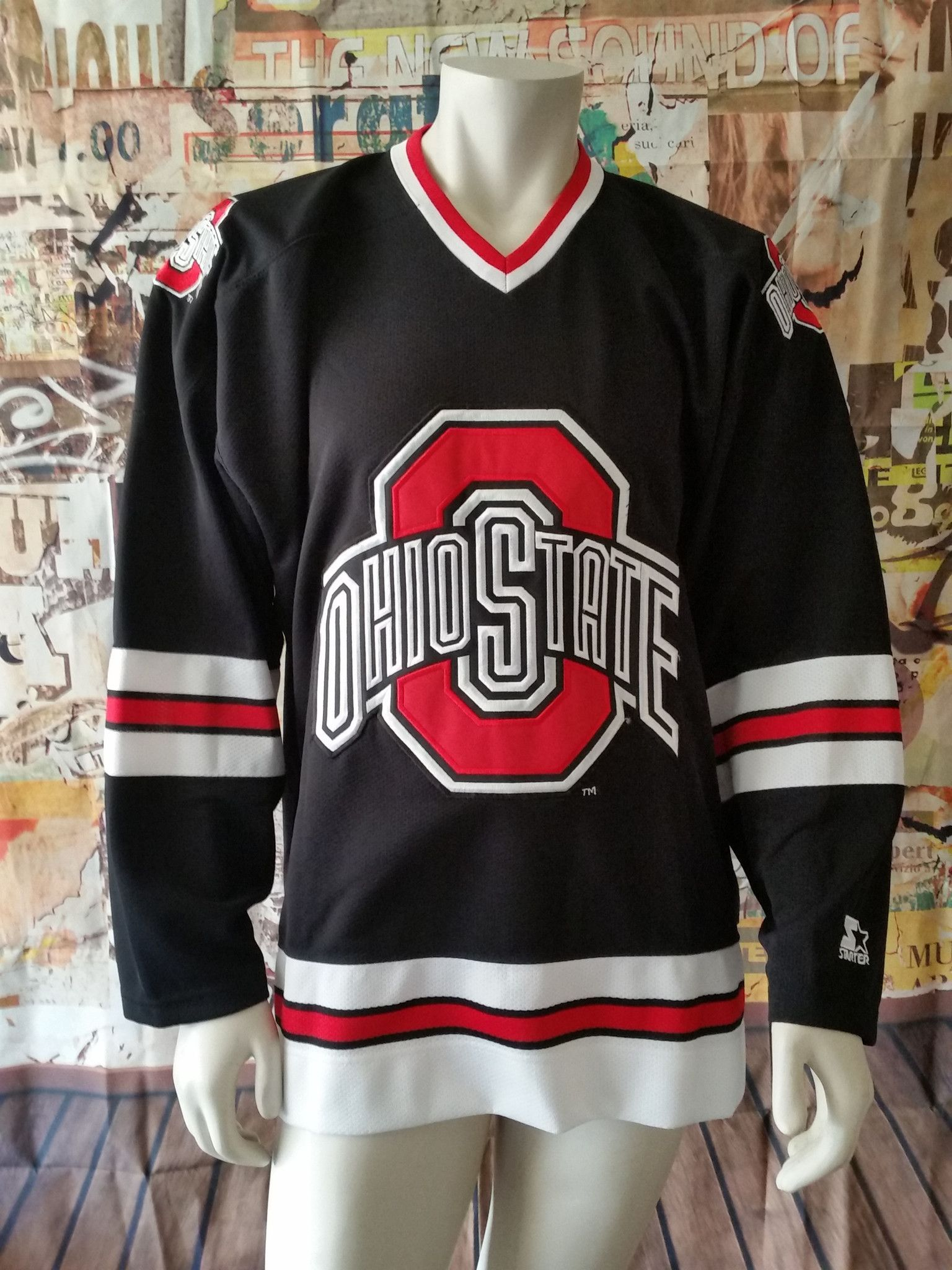 info for 2588b 05a30 Ohio State Buckeyes Vintage Starter Jersey OSU Hockey NCAA ...