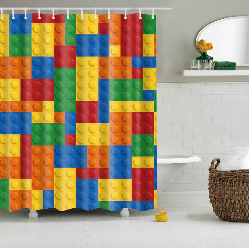 Building Blocks Lego Shower Curtain Bathroom Decor Lego Bathroom