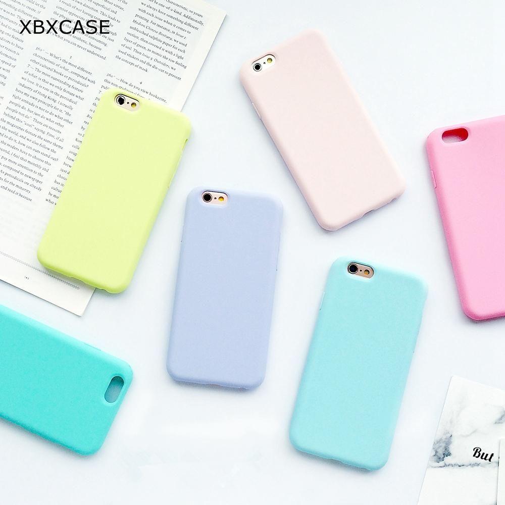 Fundas de silicona de Color caramelo sencillo para iPhone 11 Pro X