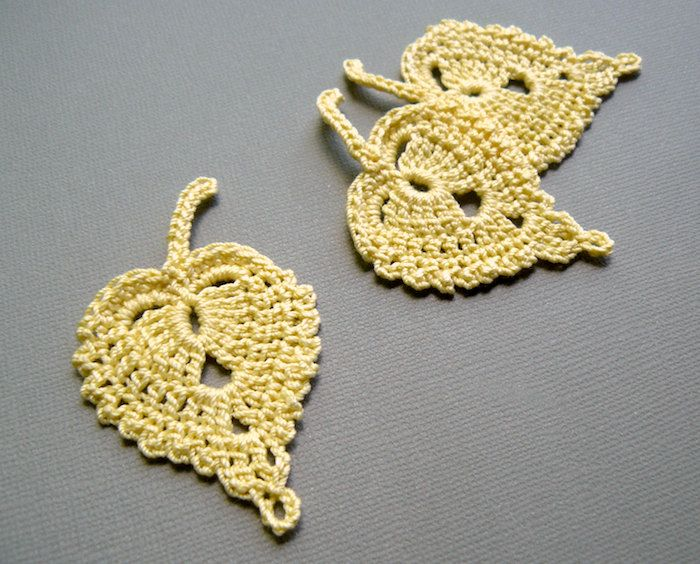 Crochet Leaf Appliques -- Maize Yellow Birch Leaves