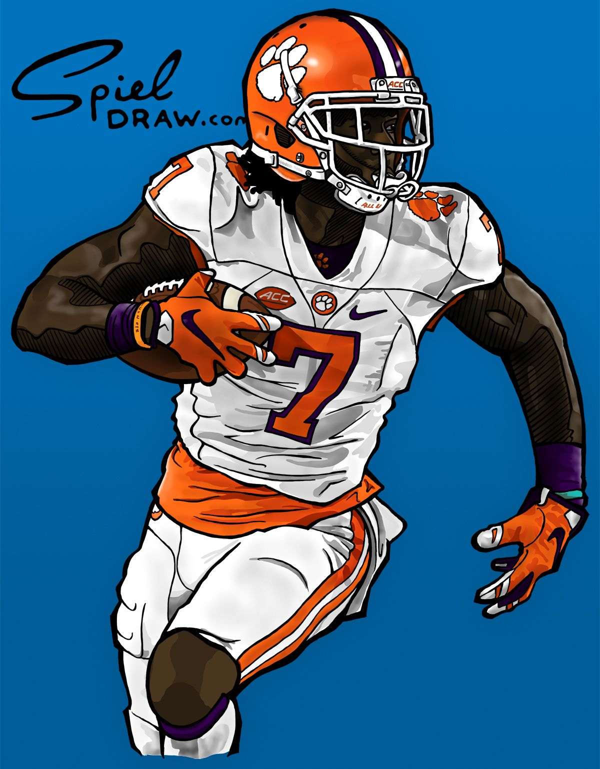 Digital Illustration Of Clemson Wide Receiver Mike Williams Created With Procreate Clemson Tigers Football Washington State Cougars Football Nfl Football Art
