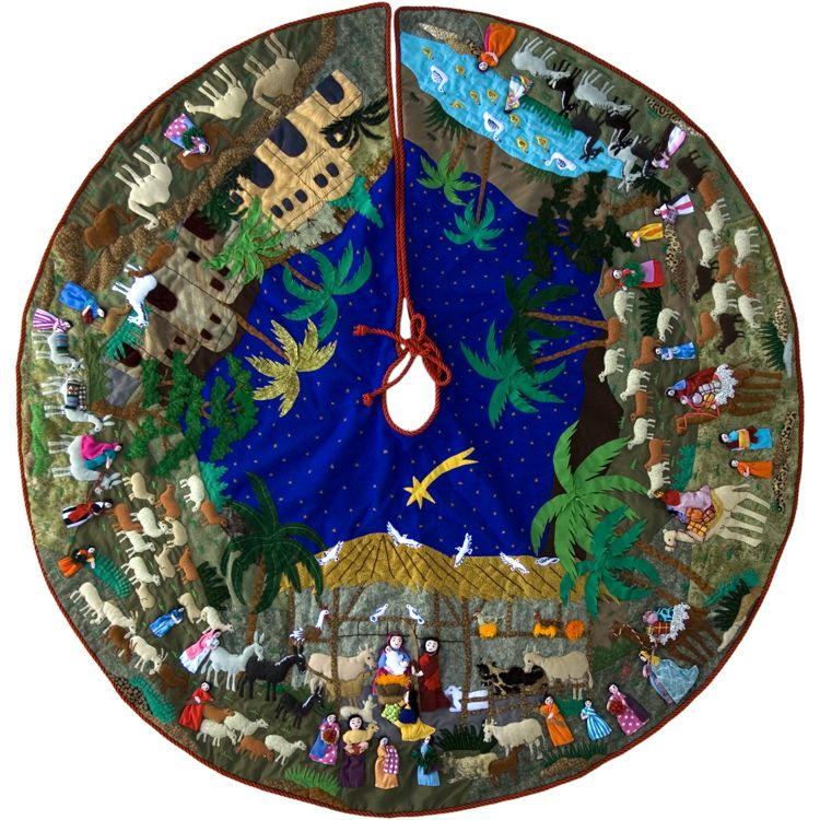 "Nativity - Large Arpillera Tree Skirt $445.00 Size: 48"" Diameter"