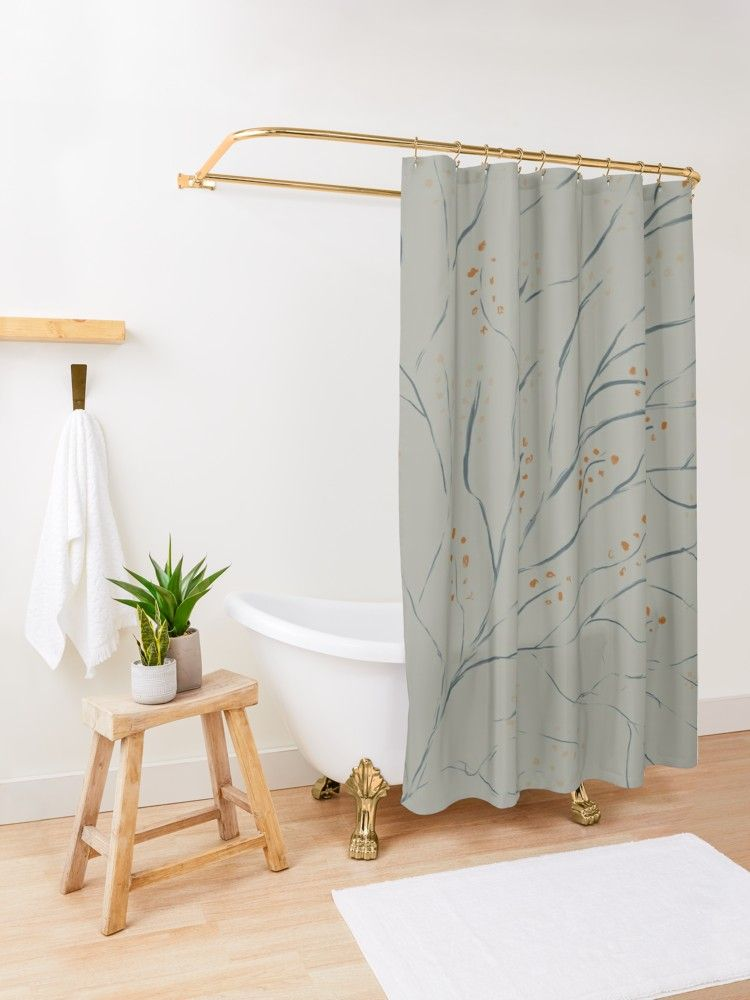 Branches On Pale Grey Green Shower Curtain By Blertadk Patterned Shower Curtain Blue Shower Curtains Printed Shower Curtain