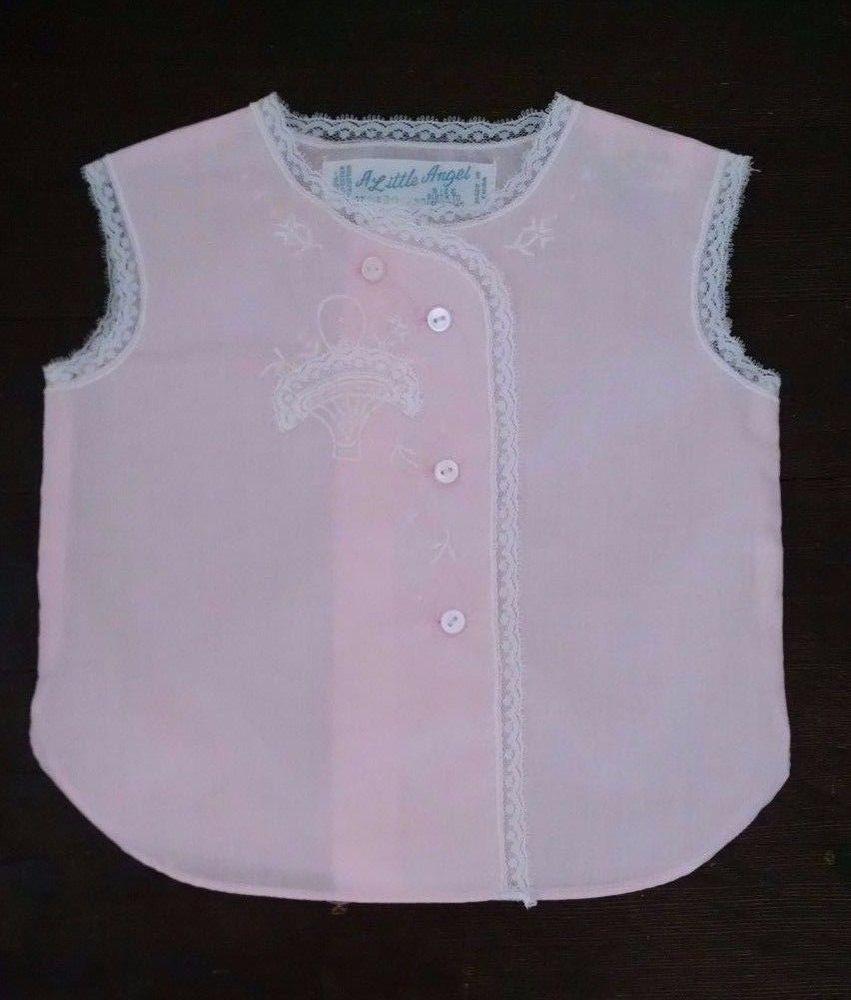 95709a7f Vtg A Little Angel Lightweight 0 3M Cotton Vest Top Pink Embroidered Flower  Lace