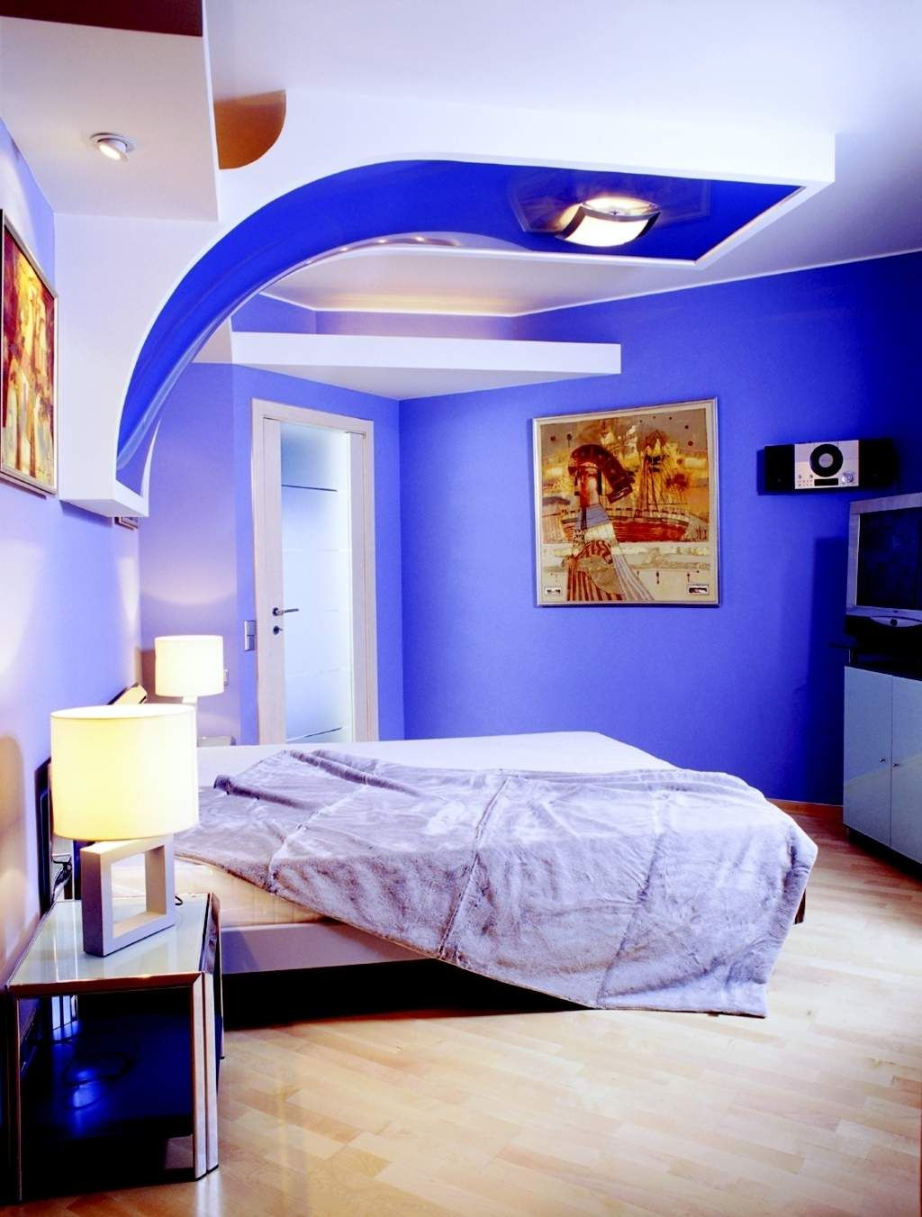 Kids Bedroom Futuristic Design Of Boys Bedroom In Bright Blue And White  Color Scheme Cool Color