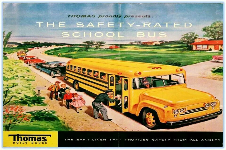 1960's ad by Thomas Built Buses | BUSES | Bus art, Old
