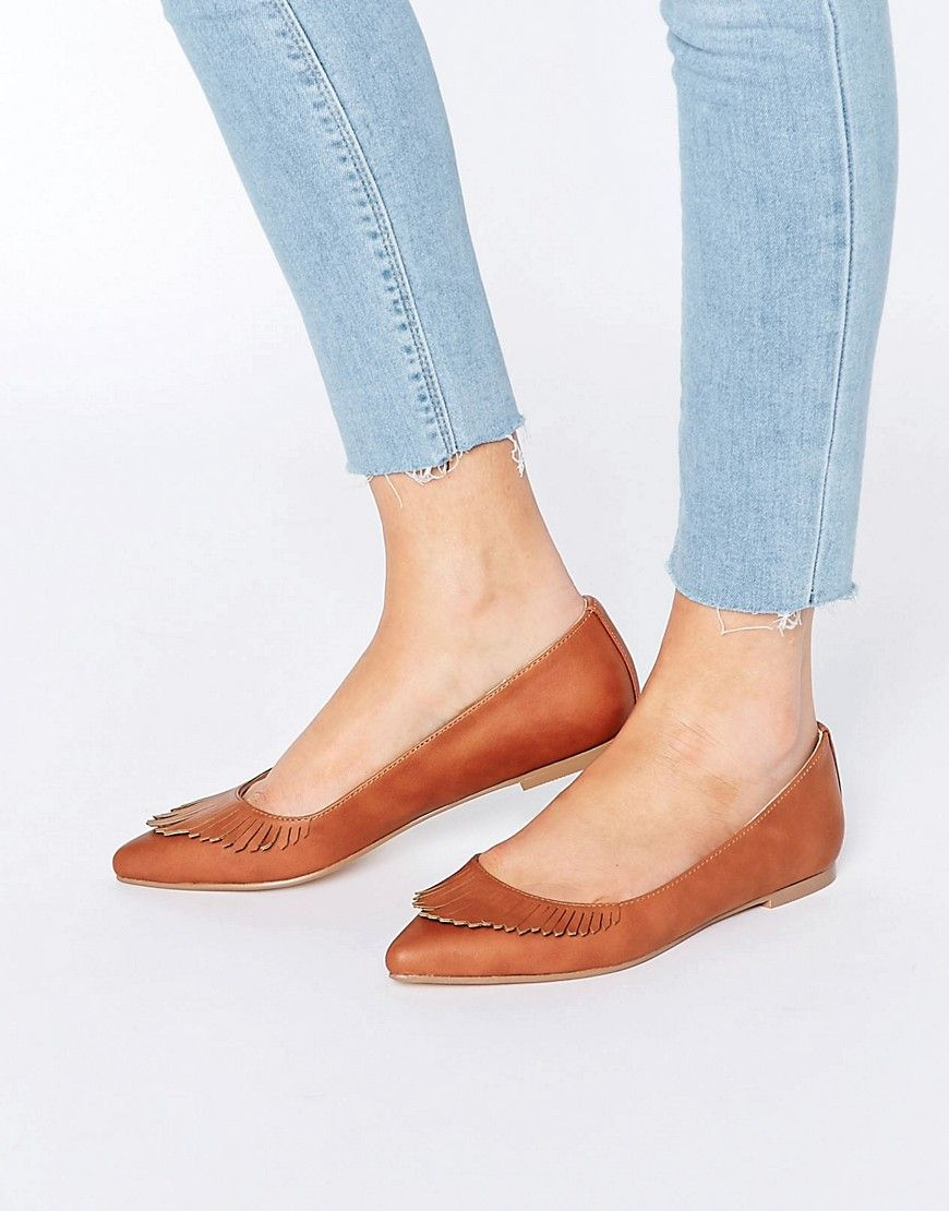 54dbccb9ff49d3 Image 1 of ASOS - LIMBO - Flat Ballerina with pointed toe and fringes