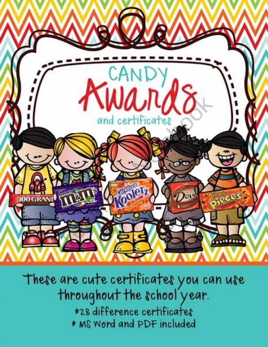 Candy Award Certificates - editable MS Word and PDF from - award certificates word