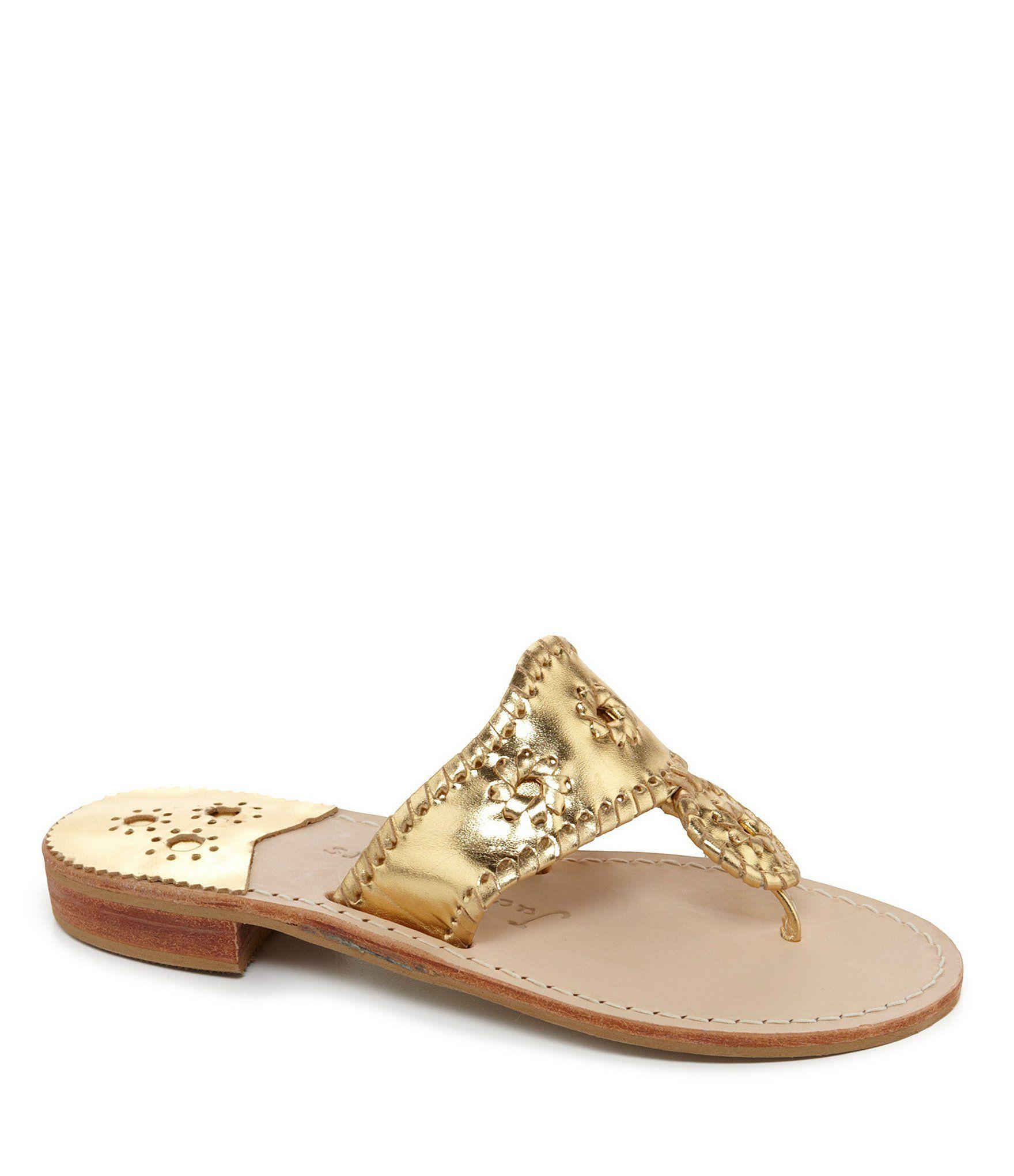 Jack Rogers Hamptons Metallic Leather Whipstitched Sandals | Dillard's