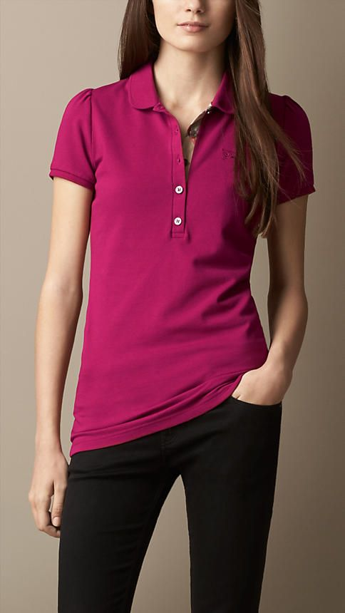 de7871c4736d Check Placket Polo Shirt in Fritillary Pink - Women