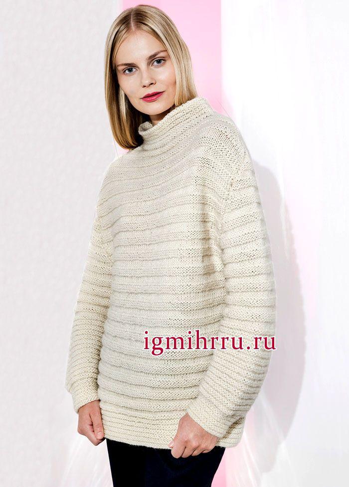 простой свитер спицами женский лицевой гладью