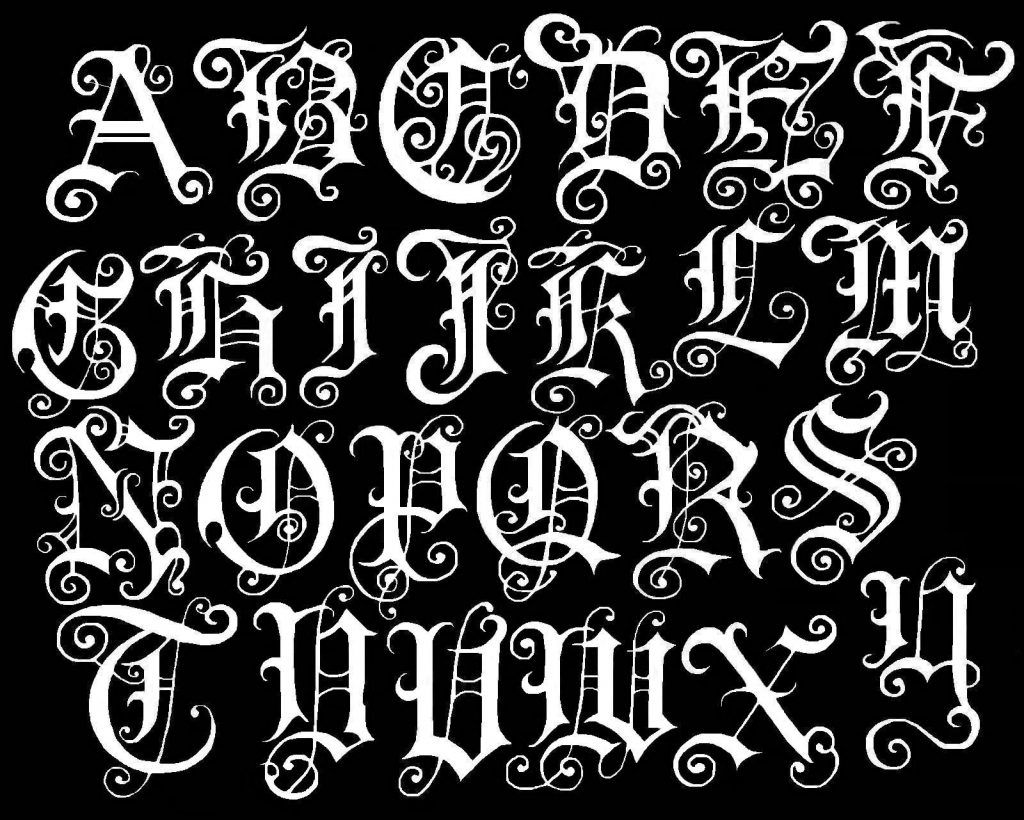 Old English Letter Alphabet Chart Font Numbers Copy And Paste Tattoo Graffiti Buchstaben Schriften Alphabet Buchstaben Schriftarten