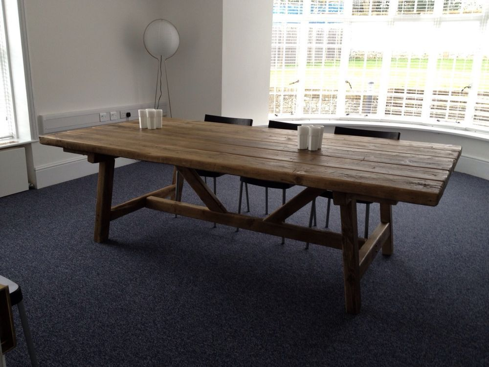 Beautiful Rustic Old World Reclaimed Timber Trestle Table Made Up To 7 Ft X 3ft In Home Furniture Diy Tables Ebay