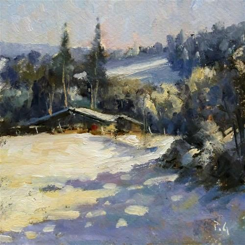 "Daily Paintworks - ""Snowy Landscape"" - Original Fine Art for Sale - © Pascal Giroud"