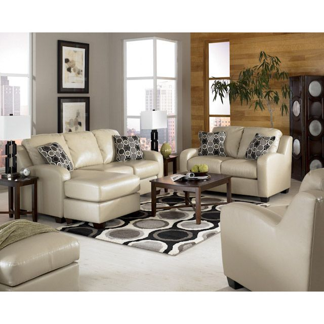 Devin Durablend Sand Leather Living Room Set: Sofa Chaise, Loveseat and Chair