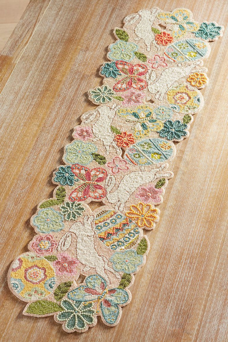 10 Festive Easter Table Runners And Tablecloths For Your Holiday Brunch In 2020 Easter Table Runners Easter Table Runner Pattern Spring Table Runner