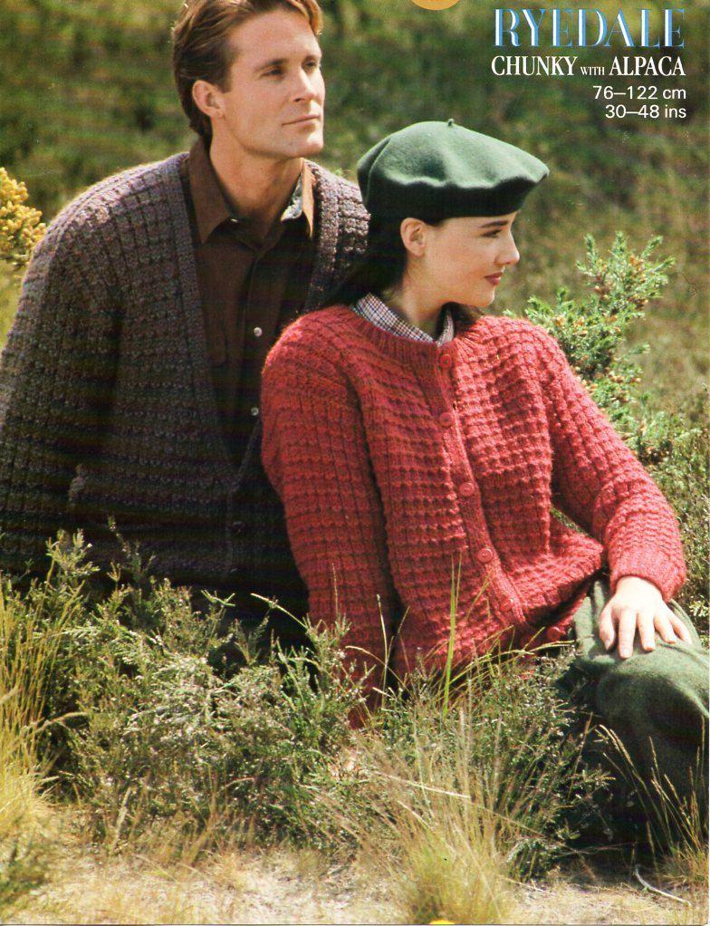 womens mens chunky cardigans knitting pattern PDF bulky ladies ...