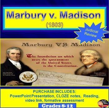 Marbury V Madison 1803 Presentation Cloze Notes Reading This