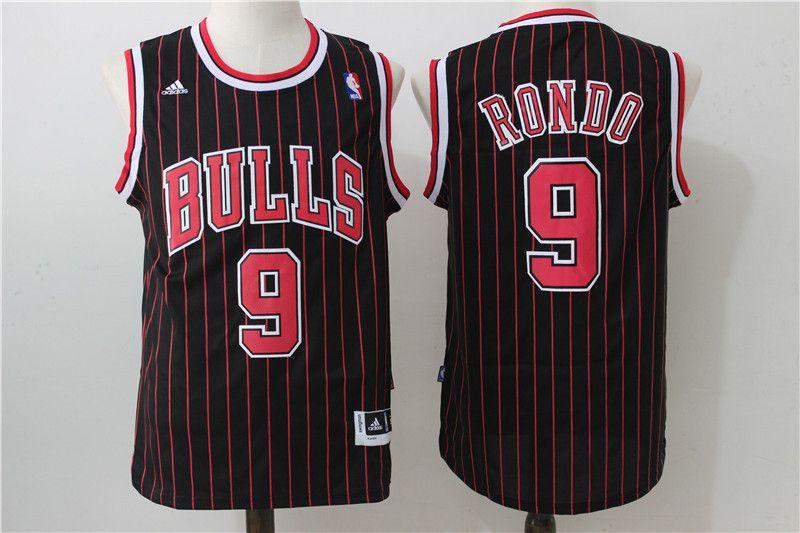 NBA Chicago Bulls #9 Rondo Stripe Redblack Jersey