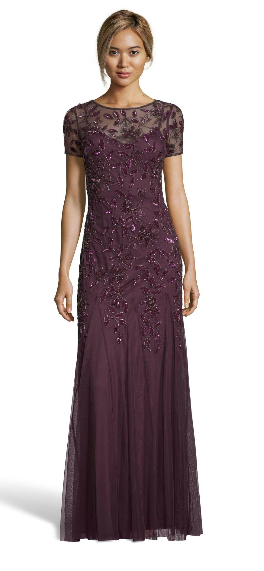 Adrianna Papell Floral Beaded Godet Gown With Sheer Short Sleeves Mother Of Groom Dresses Mother Of The Bride Gown Bride Dress