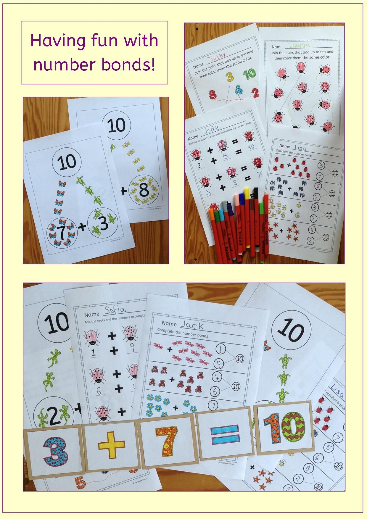 Number Bonds To Ten Worksheets Posters And Activities