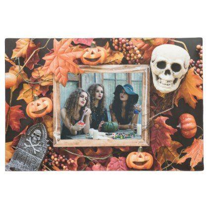 YOUR PHOTO in a Halloween Frame custom door mat - halloween decor