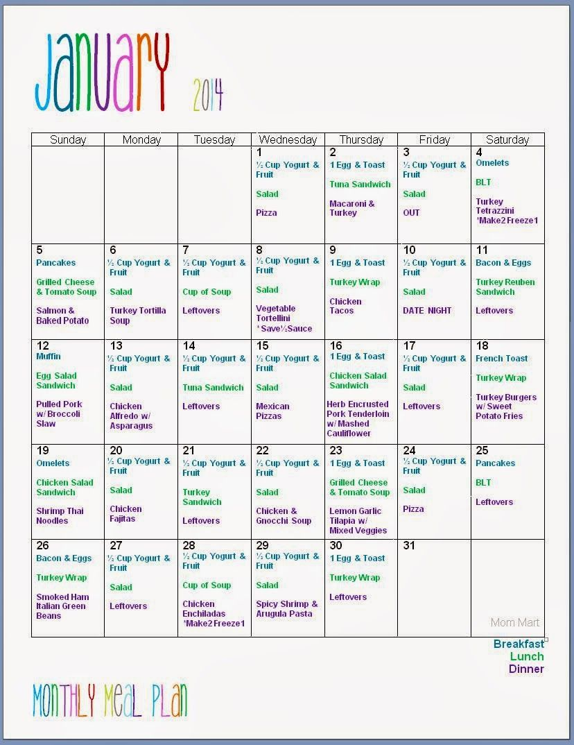 family meal plan template