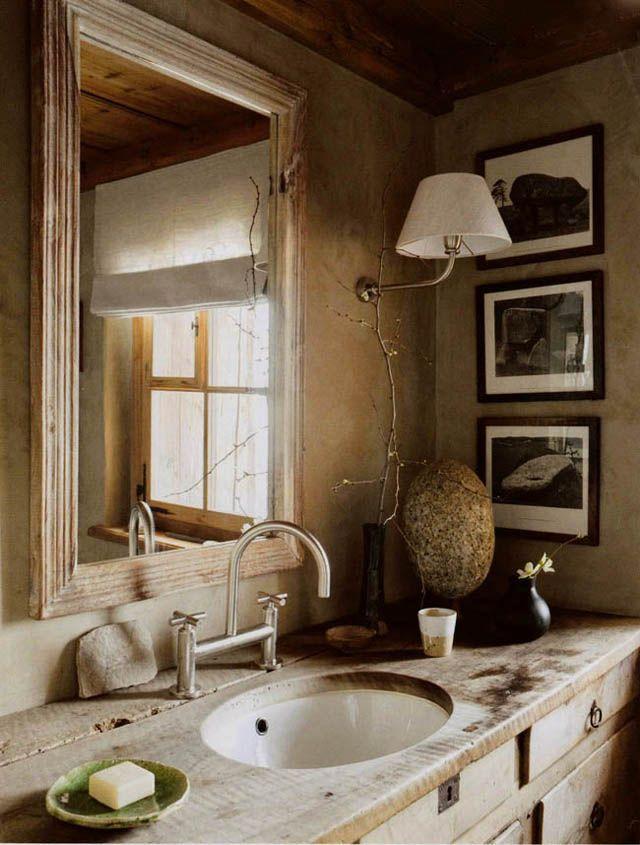 Ba os estilo rustico brutalista madera natural casa - Decoracion banos rusticos ...